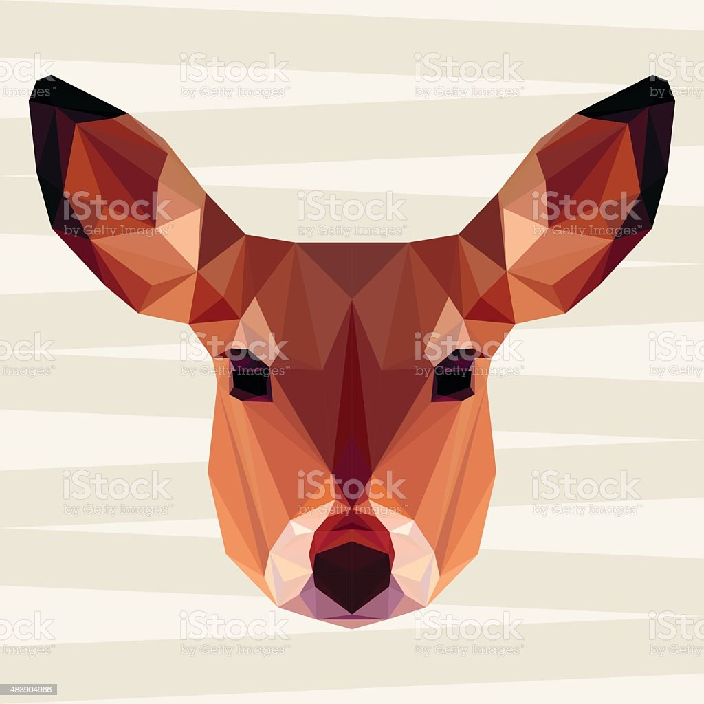 Abstract deer head. Polygonal geometric triangle bright isolated  portrait vector art illustration