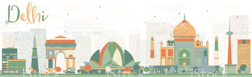 Abstract Delhi Skyline with Color Landmarks. vector art illustration