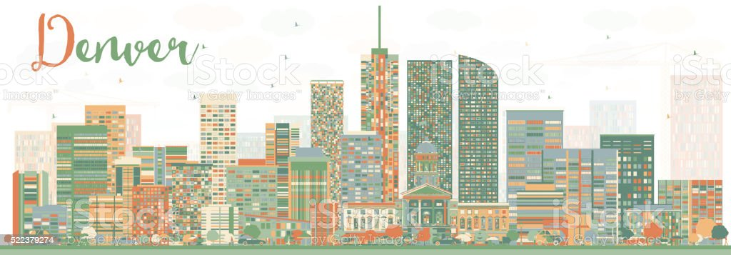 Abstract Denver Skyline with Color Buildings. vector art illustration