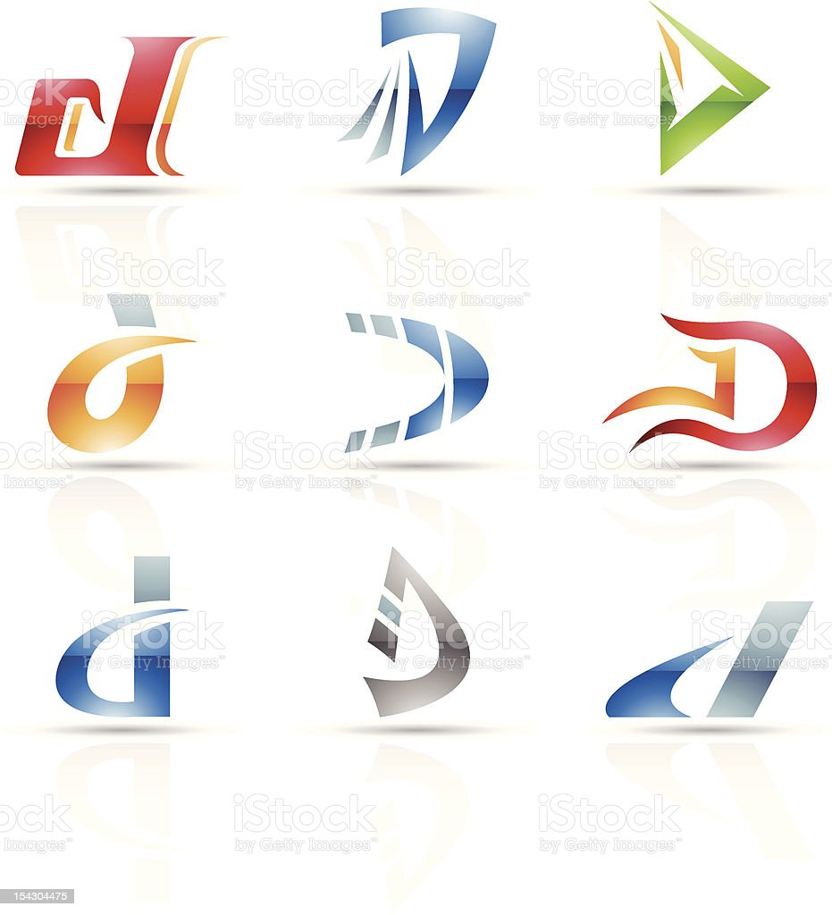 Abstract design concepts for icons with the letter D royalty-free stock vector art