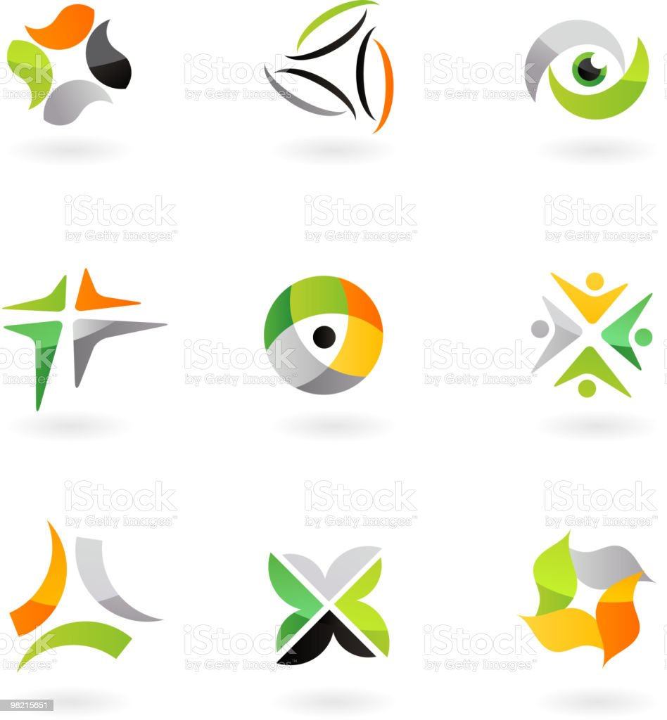 Abstract design elements and icons - sport  theme vector art illustration