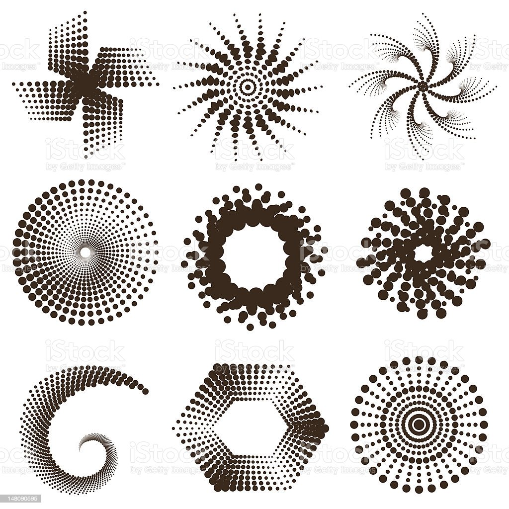 Abstract design elements - Black sun stars and swirls royalty-free stock vector art