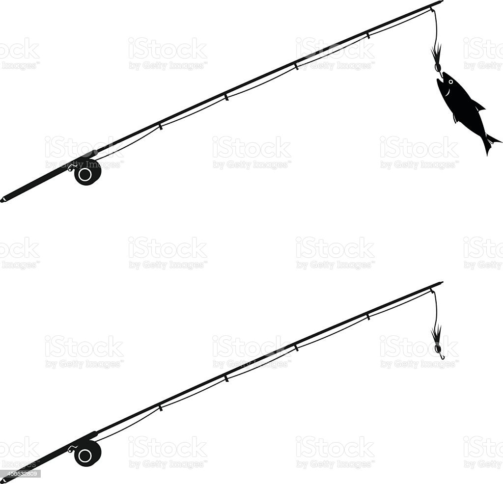 Abstract design of two fishing rods, one with fish caught vector art illustration