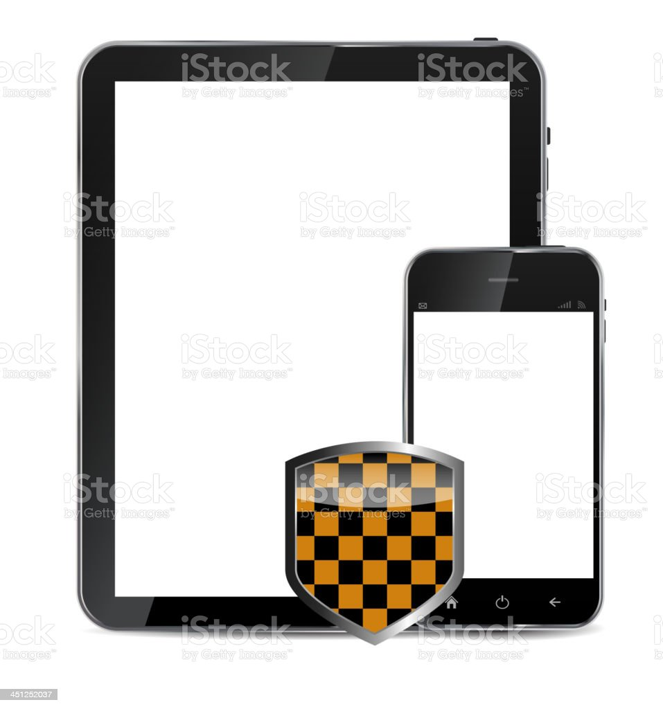 Abstract design  realistic mobile phone and tablet with protecti royalty-free stock vector art