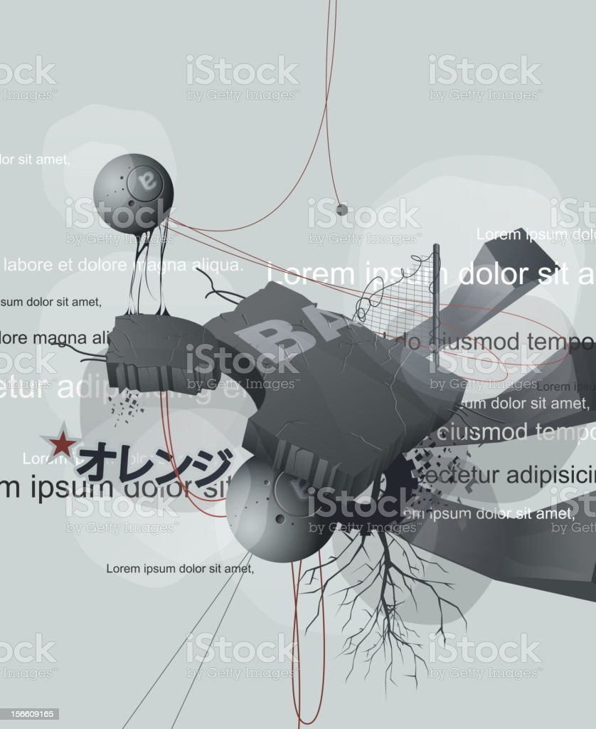 abstract design with wires, debris, and text royalty-free stock vector art