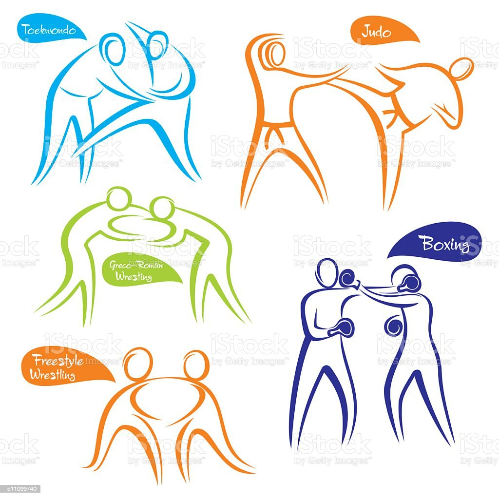abstract different sports symbol design vector art illustration
