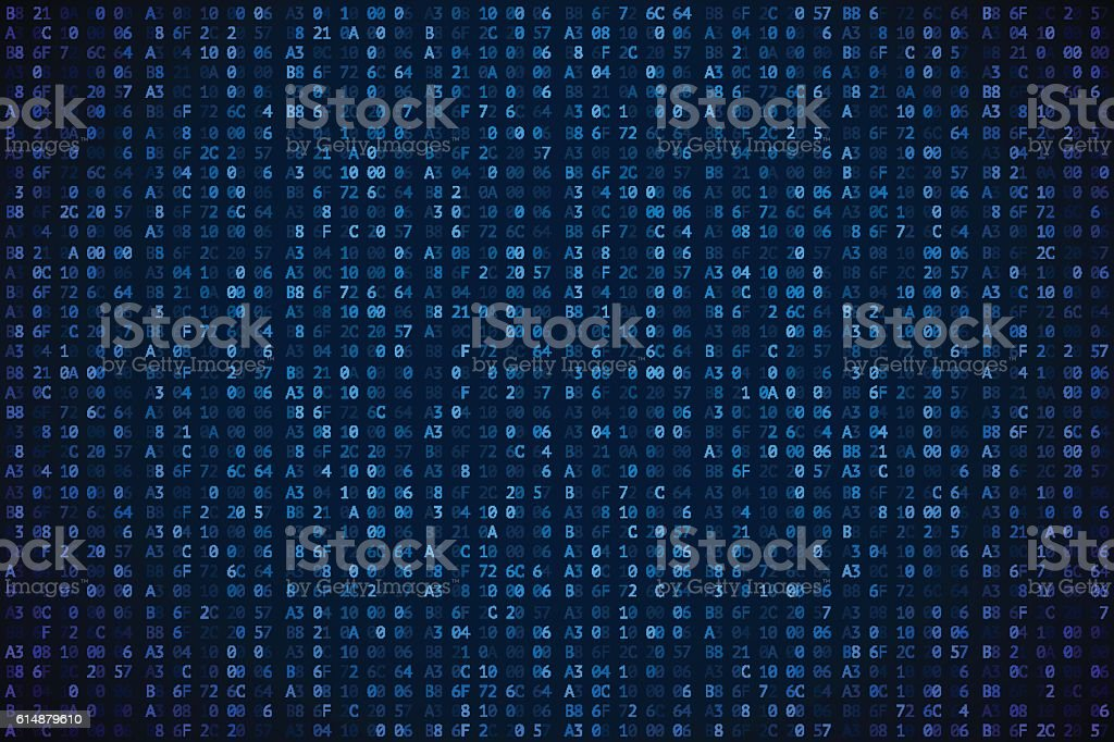 Abstract digital background. Random digits and letters colored illustration. vector art illustration