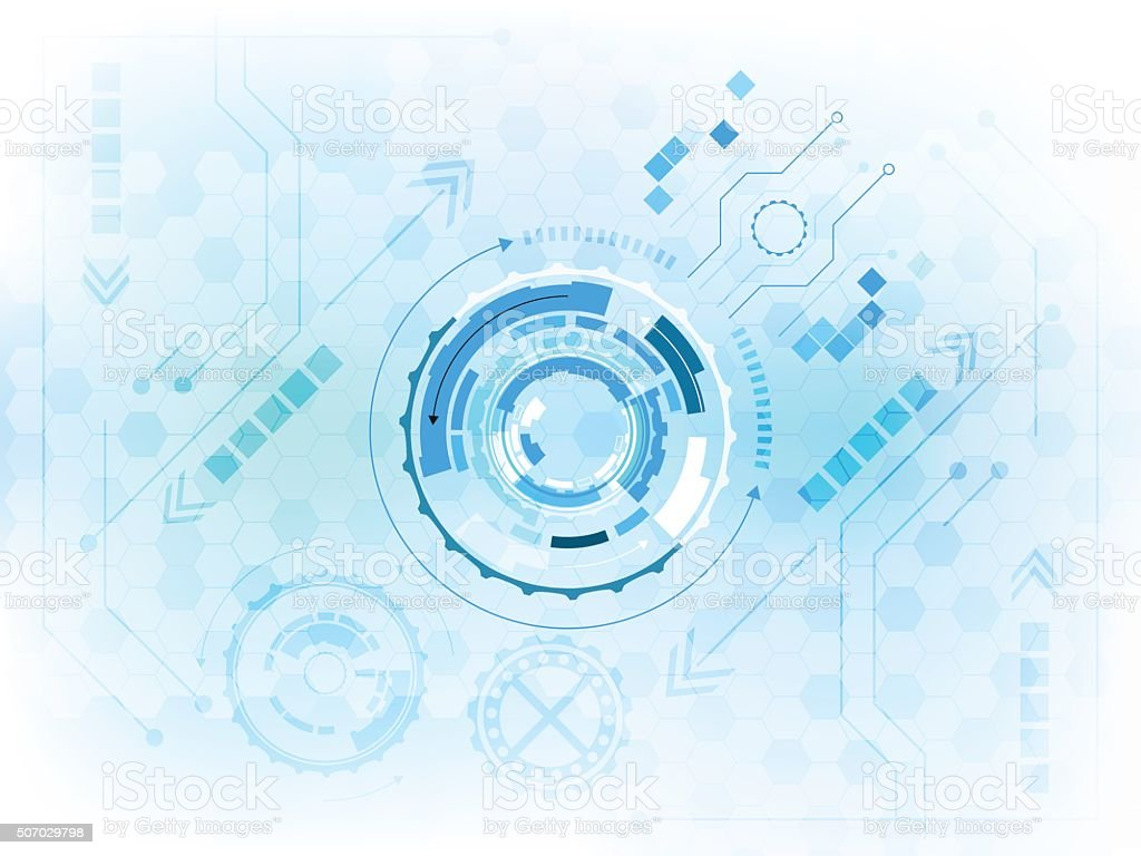 Abstract digital gear wheels technological concept with circuit board. vector art illustration