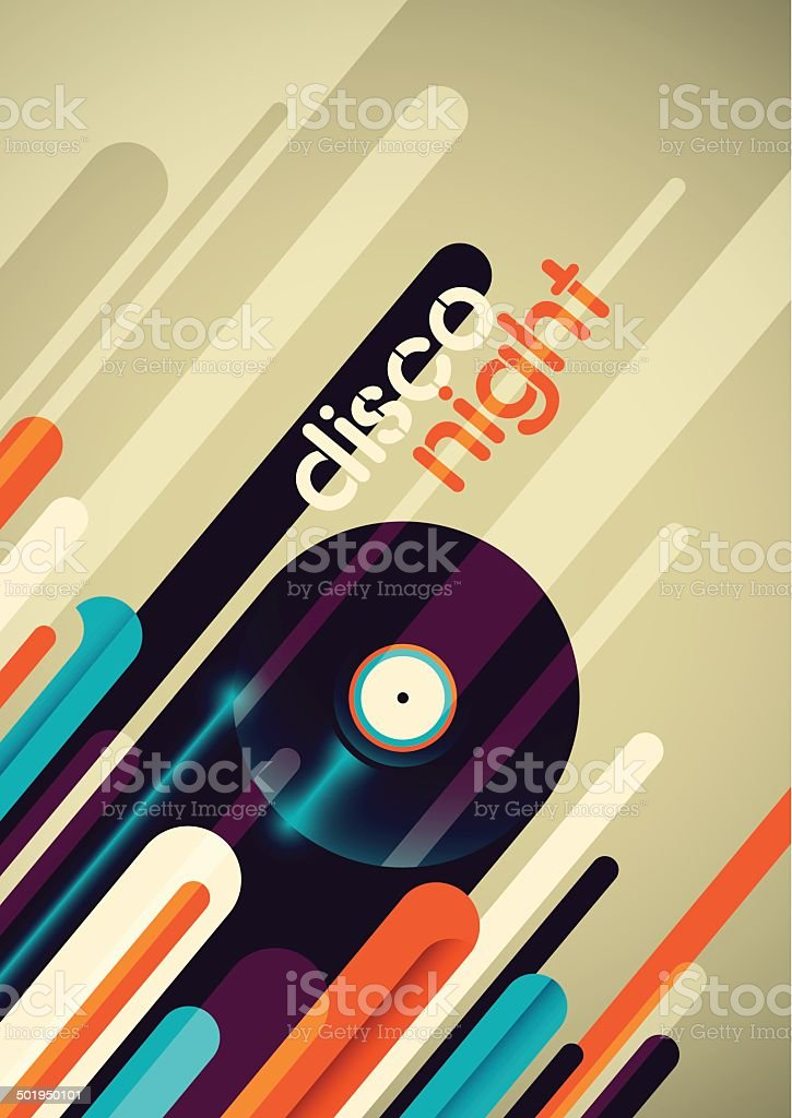 Abstract disco night poster design. vector art illustration