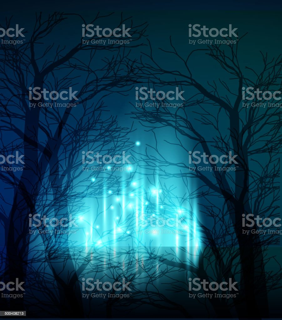 Abstract dramatic night tree vector art illustration