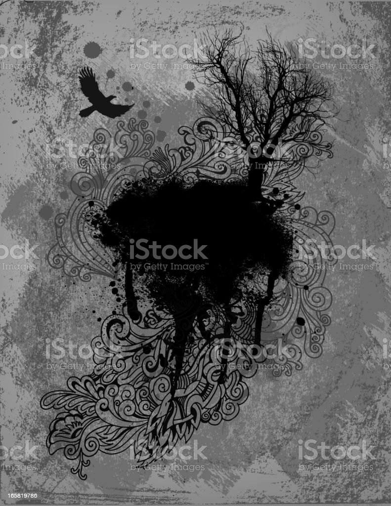 Abstract drawing showing a crow flying near a tree royalty-free stock vector art