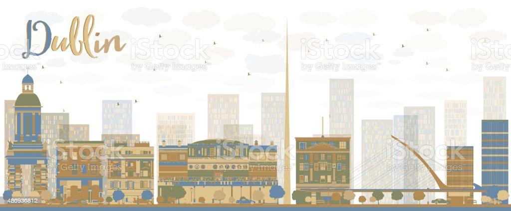 Abstract Dublin Skyline with Color Buildings, Ireland vector art illustration