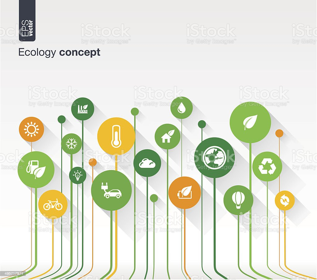 Abstract ecology background with lines, circles and flat icons. vector art illustration