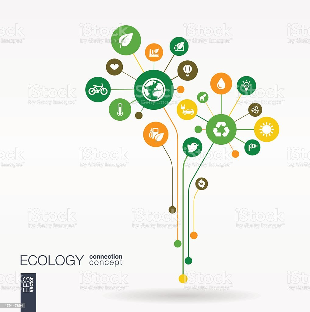 Abstract ecology tree background with connected circles, integrated flat icons. vector art illustration