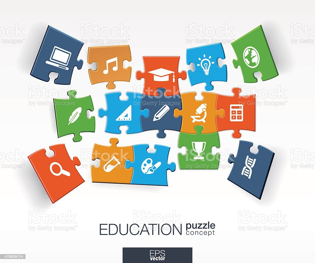 Abstract education background, connected color puzzles, integrated flat icons vector art illustration