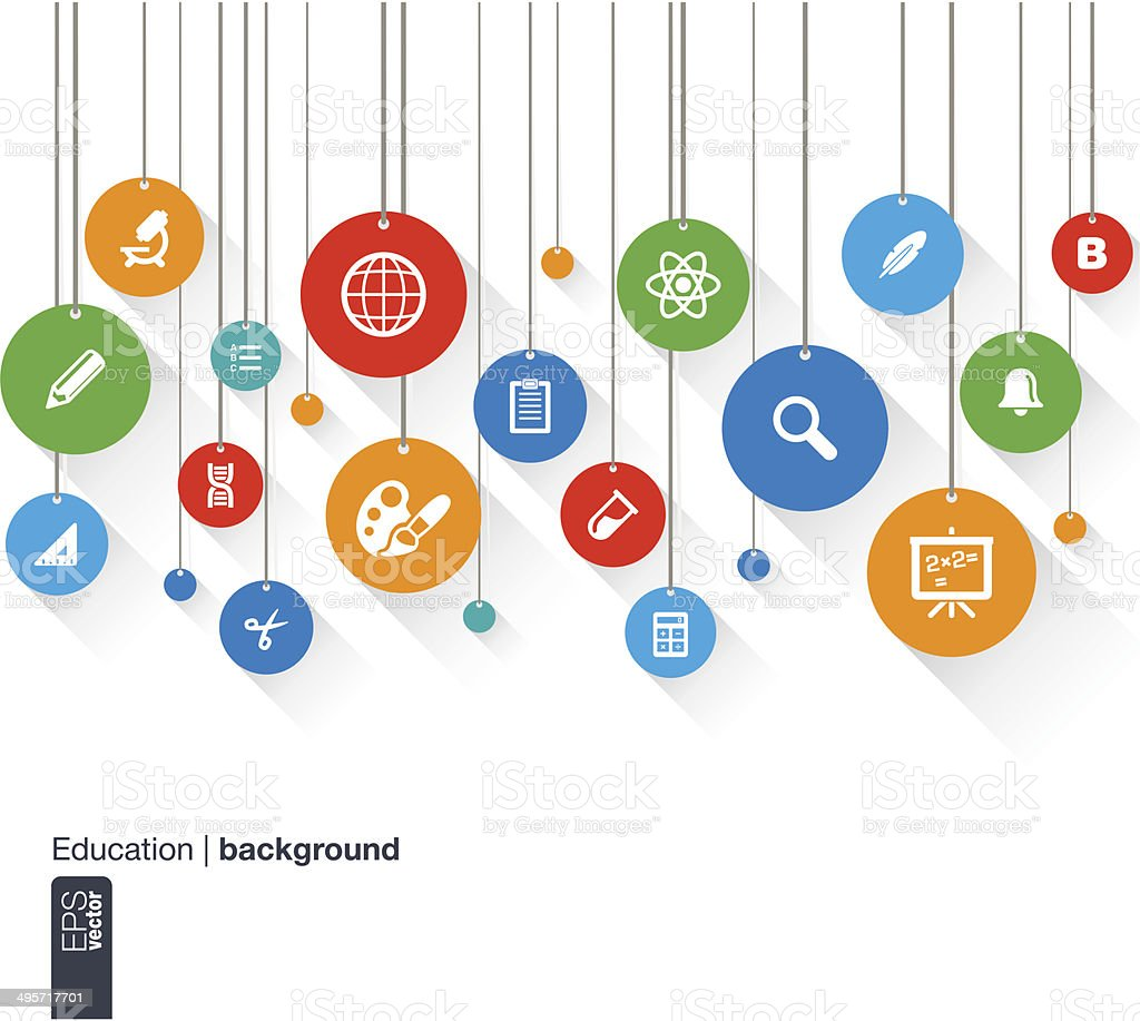 Abstract education background with lines, circles and icons. vector art illustration