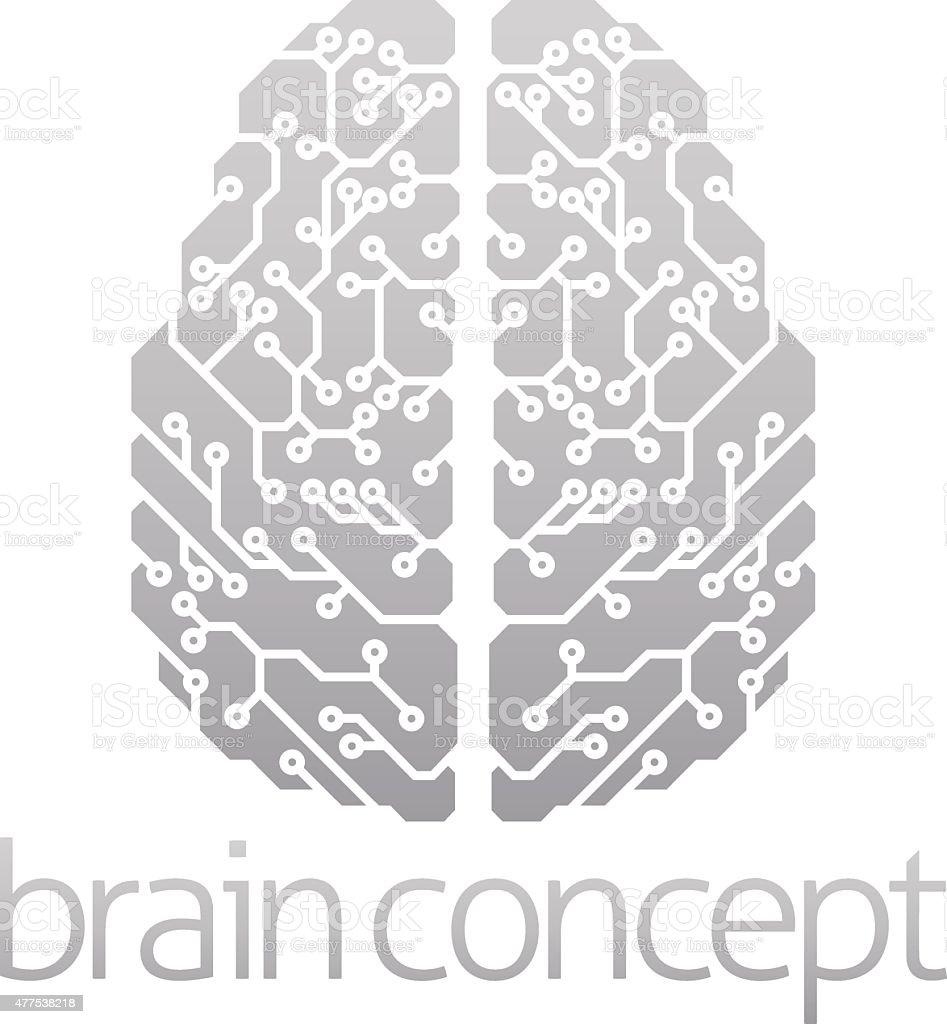 Abstract electronic brain vector art illustration