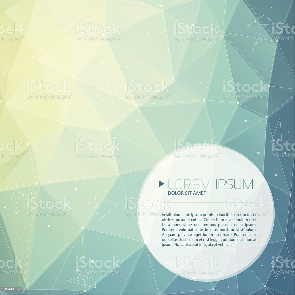 Abstract emerald tech background with text vector art illustration