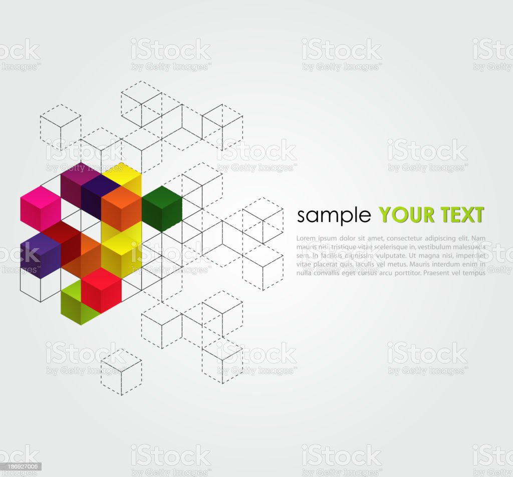 Abstract empty background with cubes and grid royalty-free stock vector art