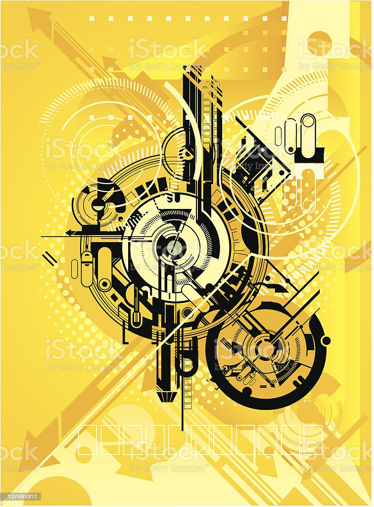 Abstract engine design with arrows royalty-free stock vector art
