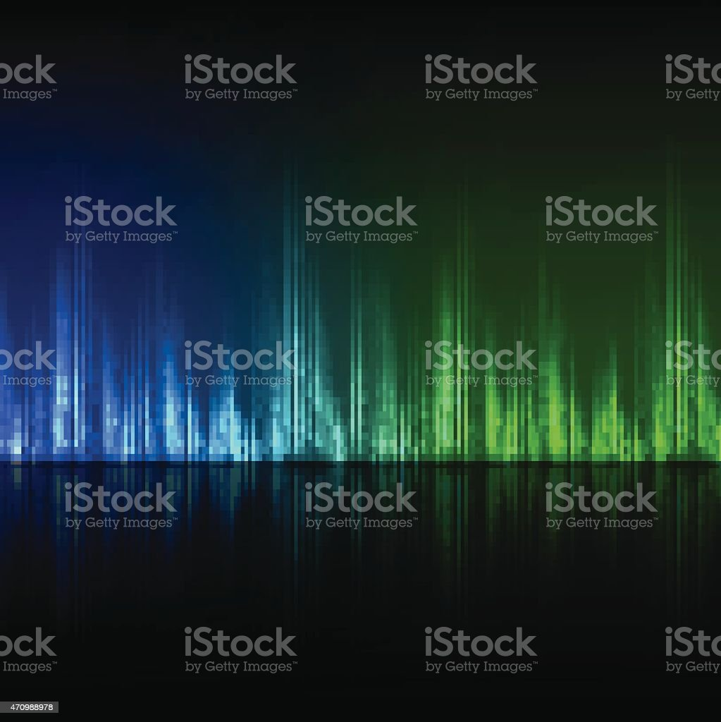Abstract equalizer background. Blue-green wave. vector art illustration