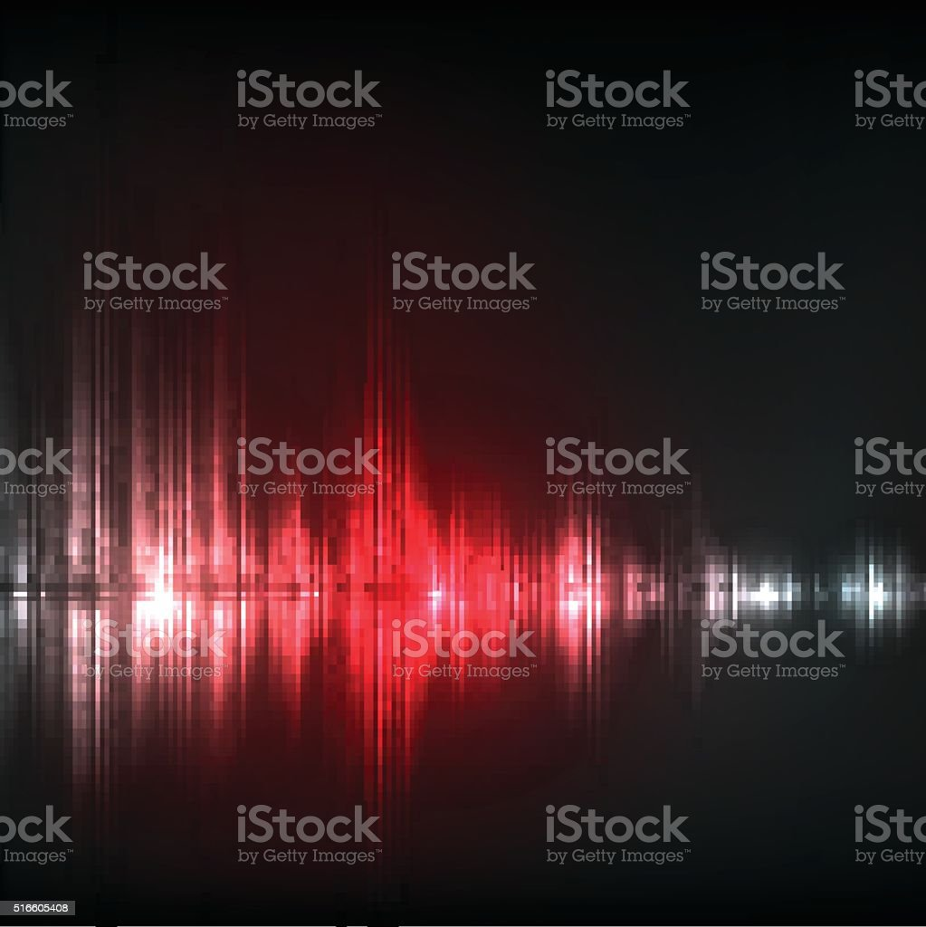 Abstract equalizer background. Red wave. vector art illustration
