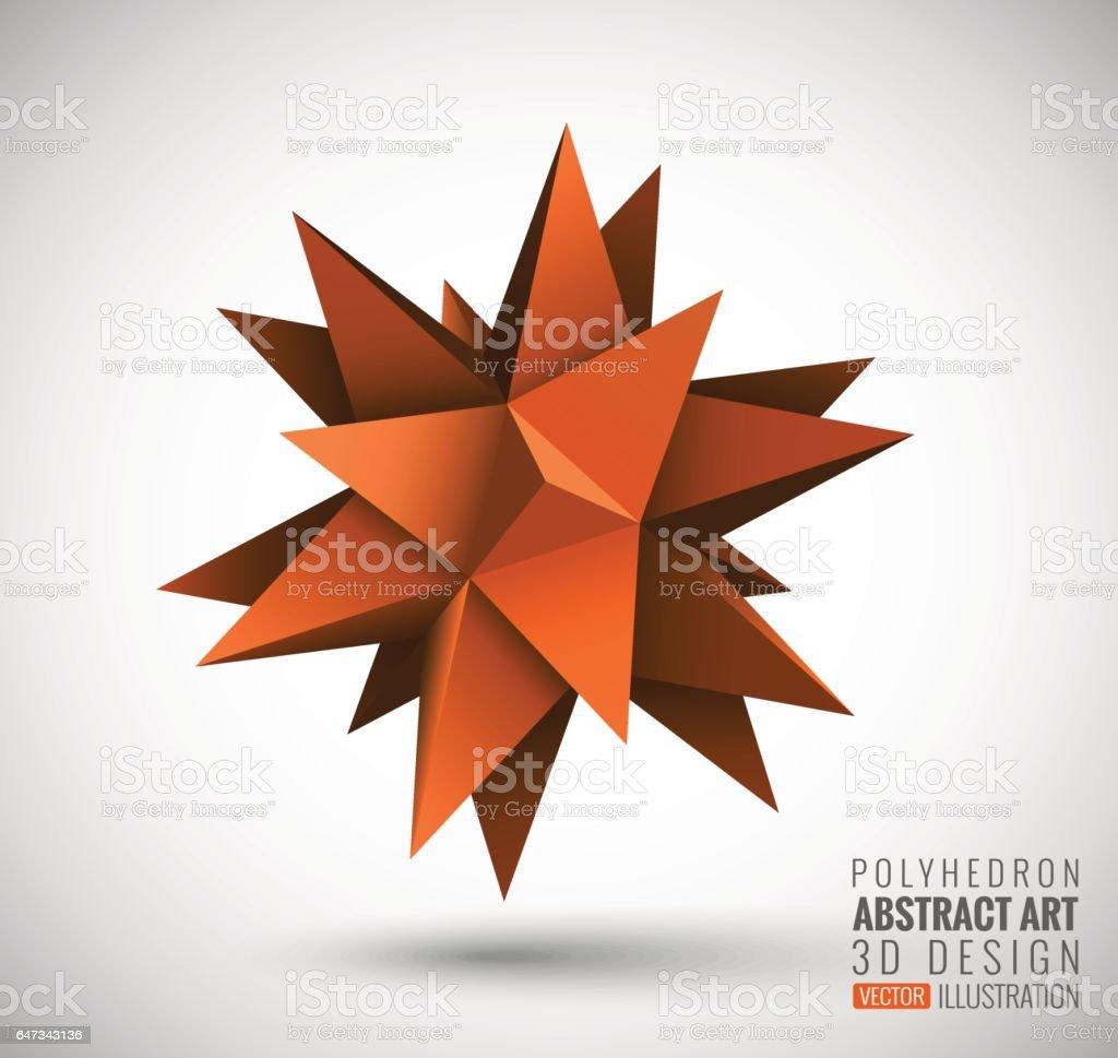 Abstract explosion. Vector polyhedron. vector art illustration