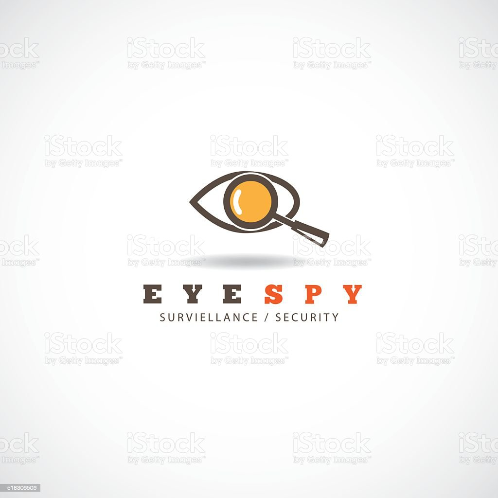 Abstract eye and magnifying glass icon vector art illustration