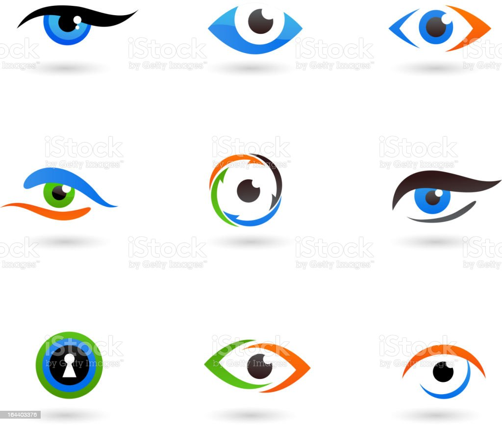 Abstract eye icons vector art illustration