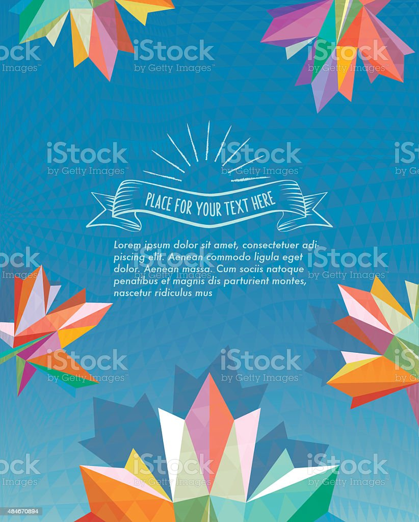 abstract fall leaf on blue polygonal background stock photo