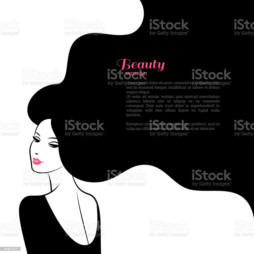 Abstract Fashion Woman with Long Hair. Vector Illustration. vector art illustration