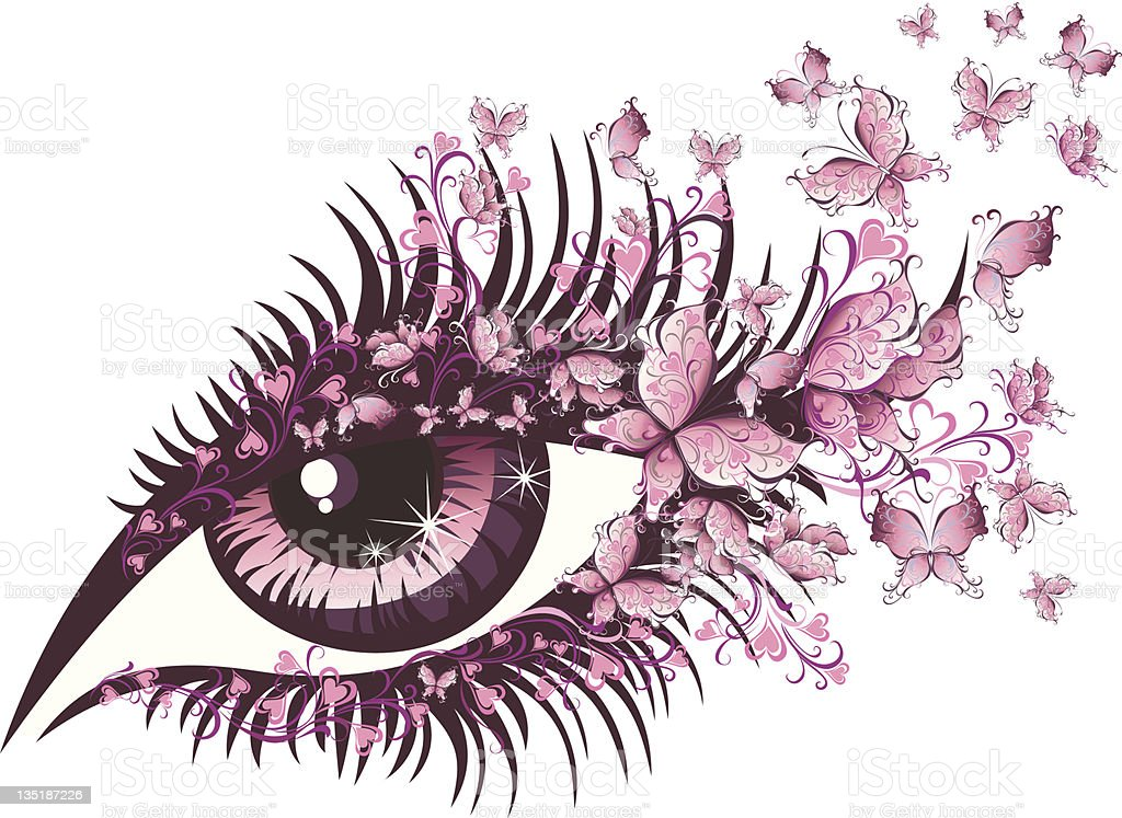 Abstract female eye with butterflies royalty-free stock vector art
