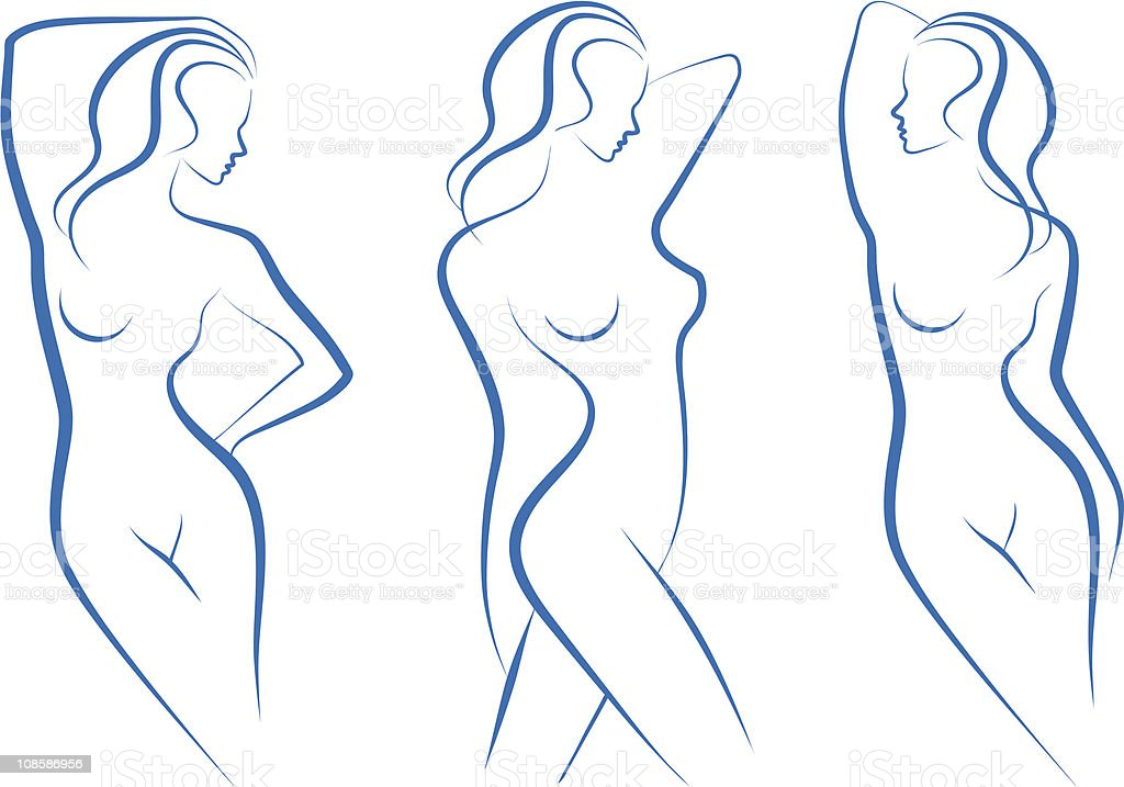 abstract female nudes vector art illustration