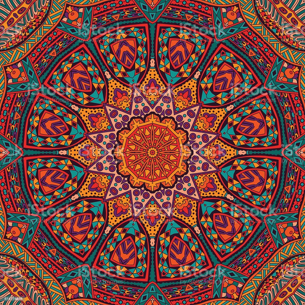 Abstract festive colorful mandala ethnic vector art illustration