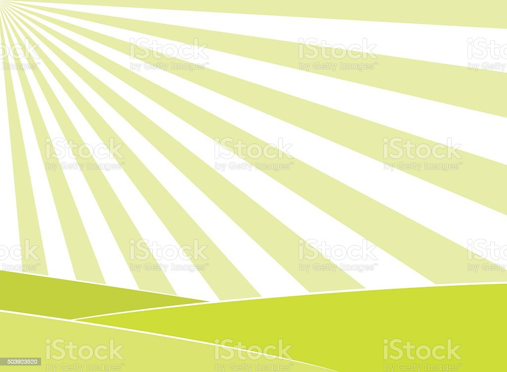 Abstract field and sun rays background vector art illustration