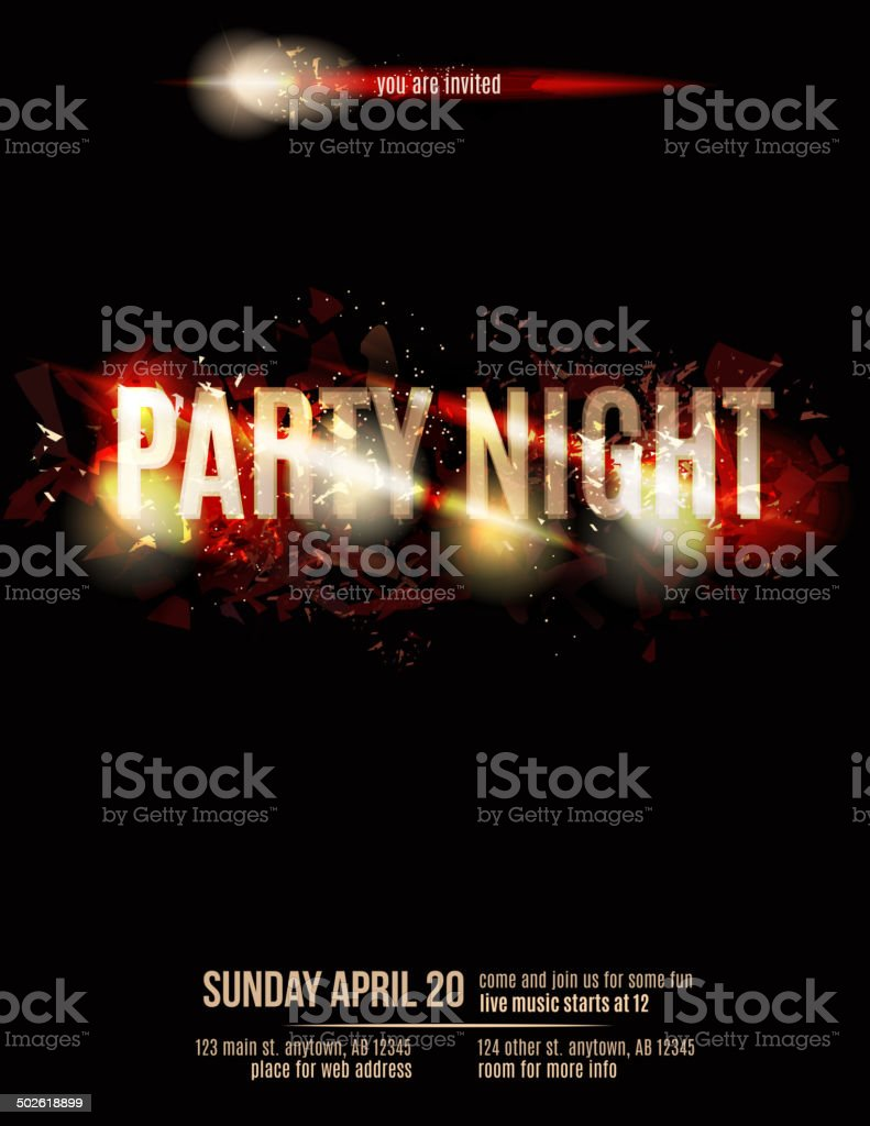 Abstract fire party flyer template vector art illustration
