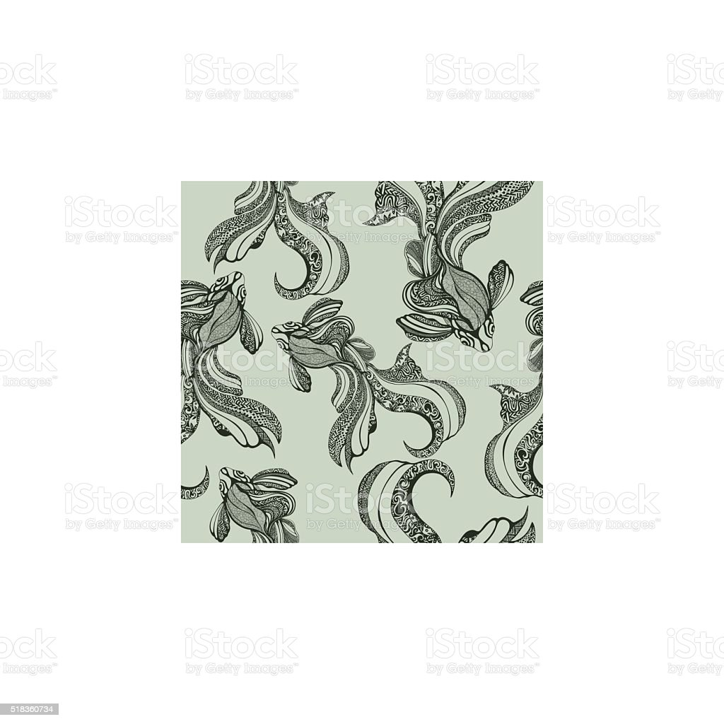 Abstract fish seamless pattern, vintage, coloring, sketch, hand drawing, graphic royalty-free stock vector art