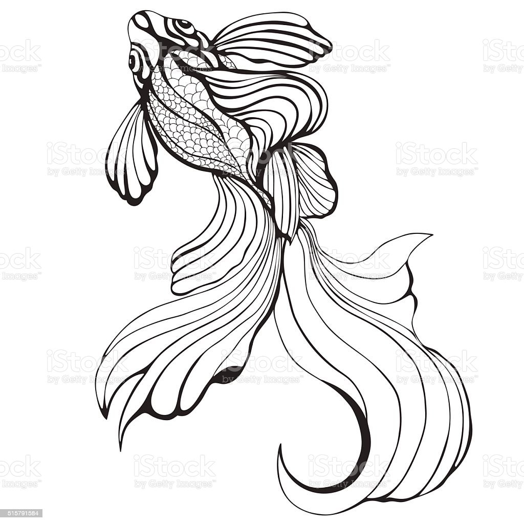 Abstract fish, sketch, hand drawing, graphic royalty-free stock vector art