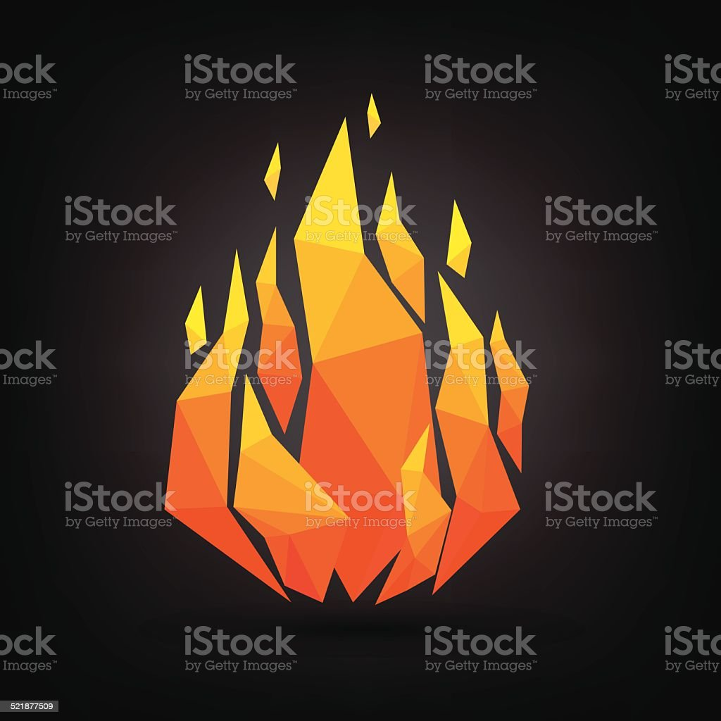 Abstract flame triangle geometric design. vector art illustration