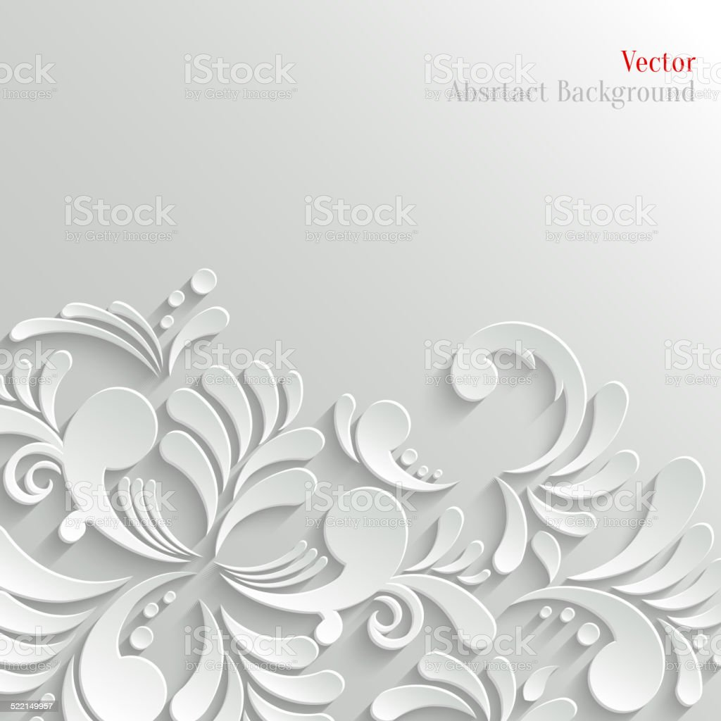 Abstract Floral 3d Background, Trendy Design Template vector art illustration