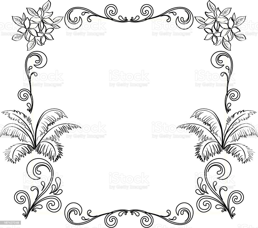 Abstract floral background, outline royalty-free stock vector art