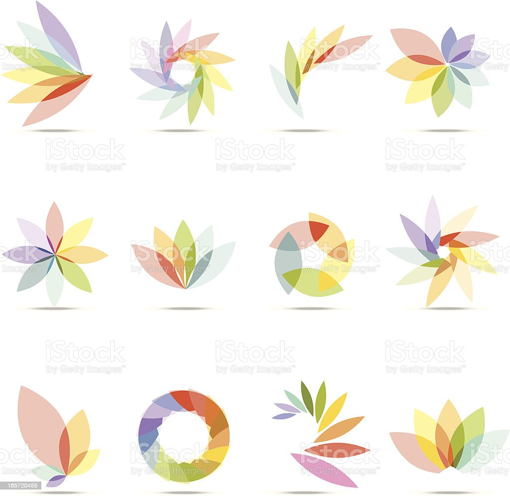 Abstract Floral Design Elements vector art illustration