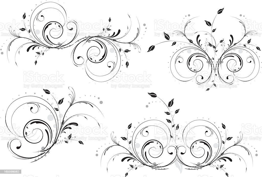 Abstract Floral Designs. Set of Four. royalty-free stock vector art