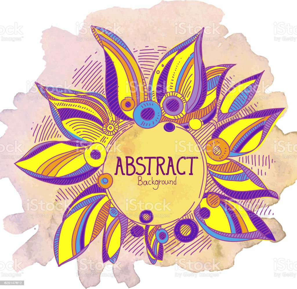 Abstract Floral Drawing vector art illustration