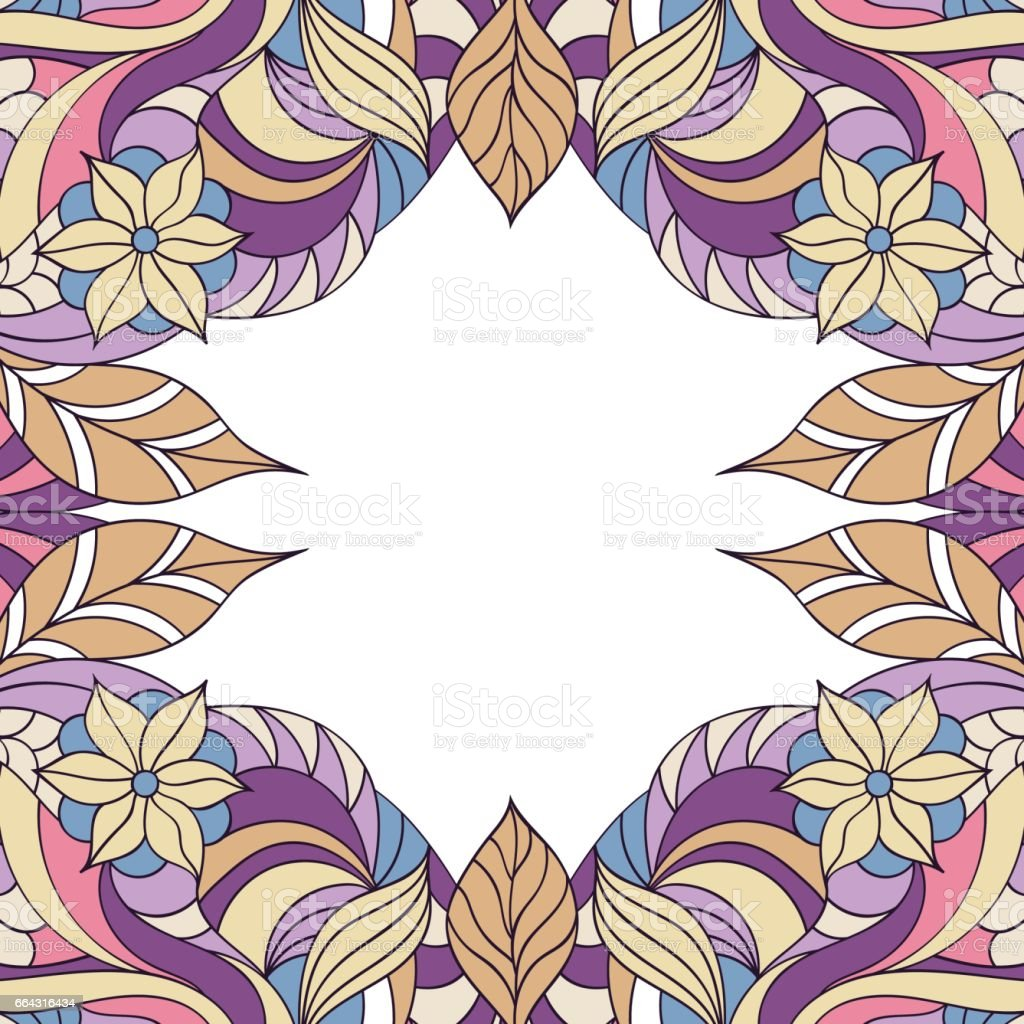 abstract floral frame. vector art illustration