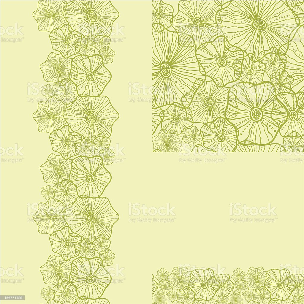 Abstract floral green seamless pattern set royalty-free stock vector art
