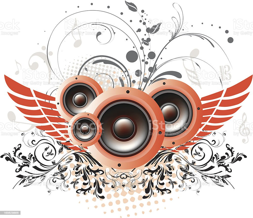 Abstract Floral Music Design royalty-free stock vector art