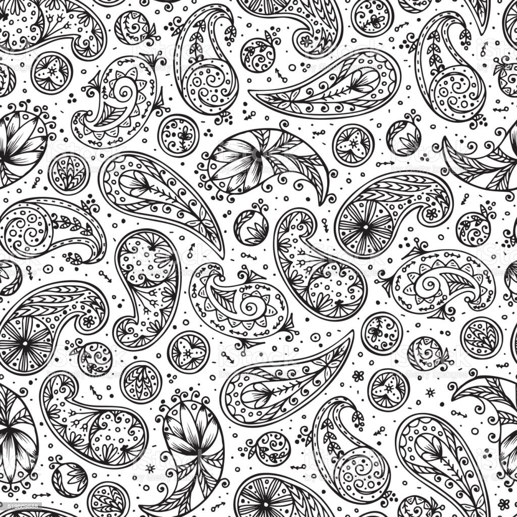 Abstract floral seamless pattern. Hand drawn doodle Paisley. Oriental patterns vector art illustration