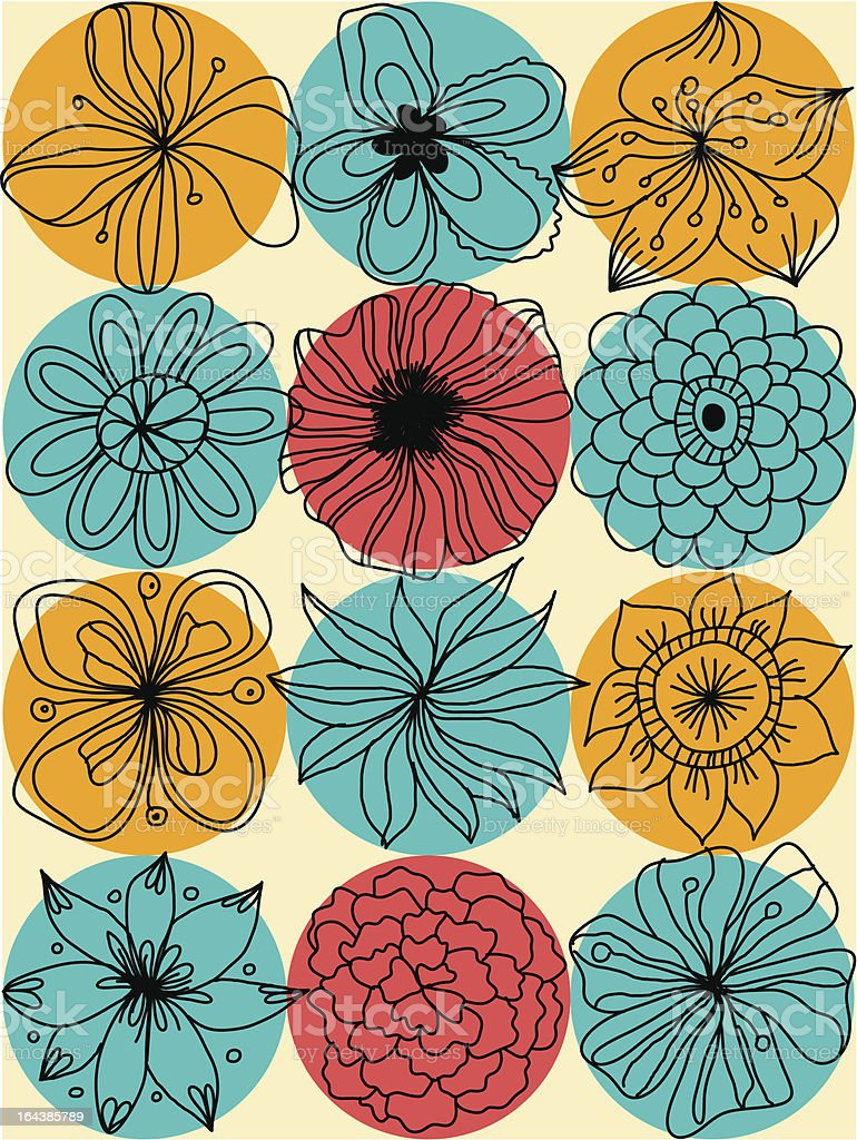 Abstract floral seamless pattern with vintage-colored circles royalty-free stock vector art