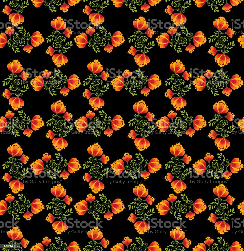 abstract floral seamless vector pattern in folk Russian style. royalty-free stock vector art